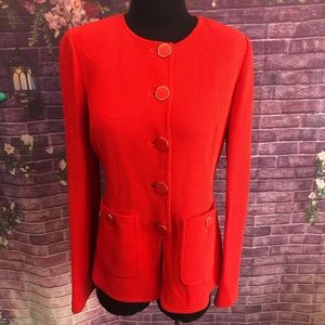 St. John Orange Knit Jacket Enamel Buttons 6